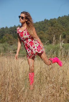 Strawberry Fields  , Topshop in Dresses, Hunter in Boots, Vintage in Glasses / Sunglasses