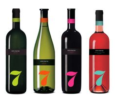 """""""We designed this new wine family, for Photos Photiades Winery in Cyprus. Named 7 plagies (7 hill sides) after the 7 hill sides that exist in the territories, and the number 7 that according to the Pythagoreans is the perfect number because it is the sum of 3 and 4 (triangle and square)"""""""