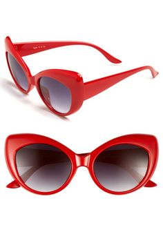 Add some flair to your poppy colored wardrobe with these cat eye sunnies from FE NY 'Lindy Hop'