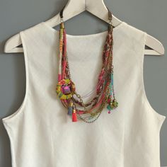 Long multi layer necklace –Fabric Necklace / statement necklace, Bohemian…