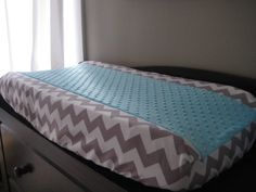 TWO Changing Pad Cover with Minky Center  Gray by myfrecklesshop, $70.00