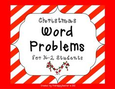 Christmas Word Problem Task Cards for K-2 Students {FREE!}