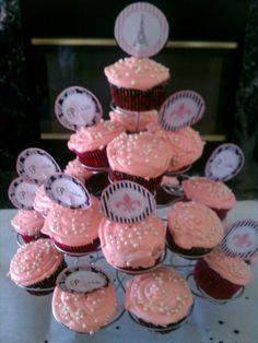Paris theme bridal shower cupcakes