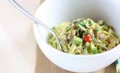 """Creamy Pesto """"Pasta"""" with Spring Vegetables (uses zucchini noodles, can use kelp or shirataki noodles)"""