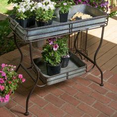 Two Tier Galvanized Tray Table