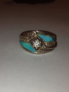 Carolyn Pollack Turquoise Sterling Ring Size 7 Blue by BargainBitz