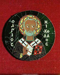 Saint Nicholas, Cloisonne enamel plaque, 10th Museo Lazaro Galdiano, Madrid, Spain  Byzantine enamel depicting st Nicolaos