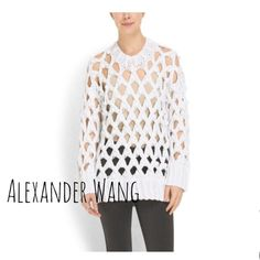 "Alexander Wang Oversized Bobble Lattice Pullover S Great piece for Spring. Alexander Wang White Bobble Lattice oversized crewneck pullover. Features pom-pom and cutout lattice detail. Ribbed banding at hem and cuffs. 27"" long measured from center back. Chunky 52% cotton 48% acrylic knit. Lighten up with brand new Wang. Size S. Sold out everywhere. Alexander Wang Tops"