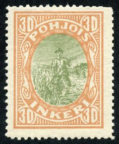 "North Ingermanland 1920 Scott 9 30p buff & gray green ""Peasant"""