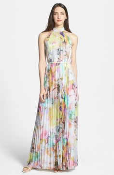Ted Baker London 'Electric Daydream' Print Pleated Maxi Dress available at #Nordstrom