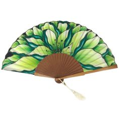 Spanish Style, Hand Fan, Fashion, Painted Fan, Painted Silk, Dollhouse Kits, Green Flowers, Shades Of Green, Infant Crafts