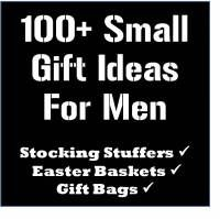 100+ Stocking Stuffer, Easter Basket, and Gift Bag Ideas for Men. Definitely need this...guys are so hard to shop for!  Just a list- no photos.