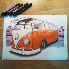 VOLKSWAGEN T1 SAMBA drawing by Georgshop on Etsy