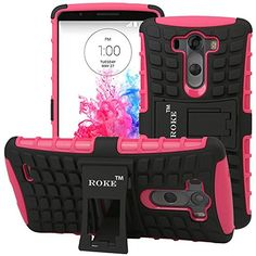 LG Case - ROKE Double Layer (Silicon Inside and Hard Plastic Outside) Armor Holster with Kickstand Case for LG - Hot Pink Tablet Cases, Phone Cases, Shoes Wedges Boots, Lg G3, Cell Phone Accessories, Hot Pink, Phones, Plastic, Organization