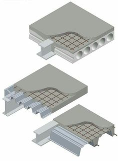 Three ways to the ultimate thermal mass: From top, precast concrete units, composite slabs, shallow floors. Precast Concrete Slabs, Concrete Deck, Concrete Building, Concrete Structure, Steel Structure, Concrete Floors, Steel Frame Construction, Construction Drawings, Construction Design