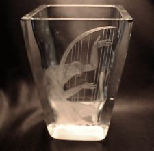 ORREFORS LINDSTRAND Male Nude Playing Harp Glass Vase