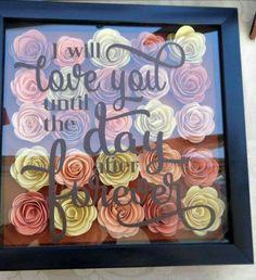 Items similar to Handmade rolled paper flower shadow box on Etsy Flower Shadow Box, Diy Shadow Box, Flower Boxes, Flower Frame, Vinyl Crafts, Diy Arts And Crafts, Crafts To Do, Paper Crafts, Handmade Crafts