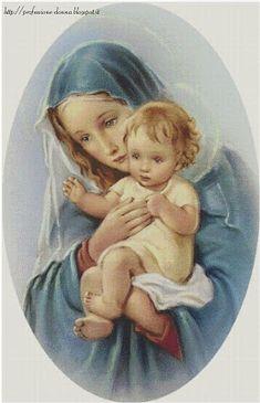 Professione Donna: Schema punto croce: Madonna con Bambino_24