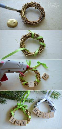 DIY Scrabble Tile Grapevine Wreath Ornament tutorial- easy to make, fun to give!