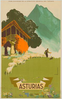 Asturias 1940 Vintage Travel Poster Spain