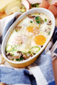 Easy & Delicious Baked Eggs with Brussels Sprouts & Mushrooms