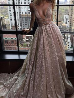 Chic A-line Prom Dress,Silver Tulle V-Neck Rhinestone Evening Dress Party Dress AM143