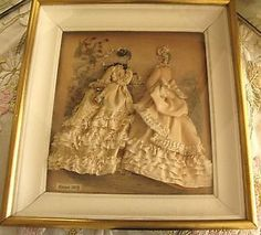 Antique 3D Shadowbox French La Mode ILLUSTREE Print Embellished Dresses Hats | eBay