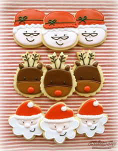 Santa, Mrs. Claus and Rudolf Cookies by melissa joy
