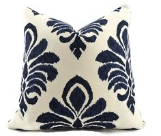 Navy Blue Ikat Decorative Pillow Cover 22x22 navy by ThePillowSpot