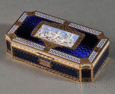 French Yellow Gold and Enamel Snuff Box, c. 1880