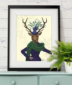 Deer and Fascinator, Art Print