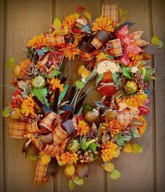 Fall Wreath ,,, love the ribbon & vivid colors on this one
