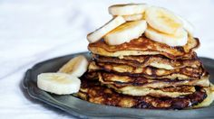 Couldn't be easier to make; 3 ingredient pancakes chock-full of protein & gluten free Low Carb Breakfast, Healthy Breakfast Recipes, Brunch Recipes, Breakfast Ideas, Healthy Food, Healthy Eating, Healthy Recipes, Clean Breakfast, Protein Recipes
