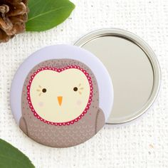 Friendly OwlPocket Mirror Or Magnet. Woodland Fox. Compact Mirror. Fridge Magnet. Quirky Gift.