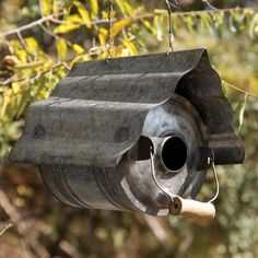 Galvanized Metal Repurposed Can Birdhouse