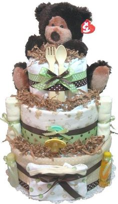 Chocolate Bear Diaper Cake Neutral for Boy or Girl