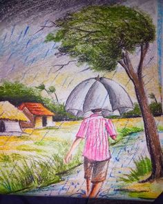 Landscape Drawing For Kids, Scenery Drawing For Kids, Easy Landscape Paintings, Scenery Paintings, Oil Pastel Paintings, Oil Pastel Art, Oil Pastel Drawings, Art Drawings For Kids, Indian Art Paintings