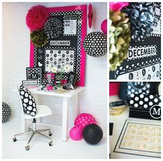Chalkboard, pink, polka dot theme for classroom or kids' bedrooms, craft areas, work stations. Polka Dot Classroom, New Classroom, Classroom Design, Classroom Themes, Chalkboard Classroom, Chalkboard Decor, Polka Dot Theme, Polka Dots, Black And White Theme