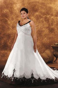 Chic A Line V Neck Embroidery Court Train Satin Plus Size Wedding Dress