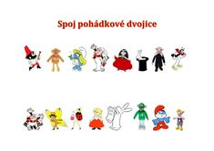 Pohádkové dvojice online worksheet for předškolák/1.třída. You can do the exercises online or download the worksheet as pdf. Kids Learning Activities, School Subjects, Google Classroom, Colorful Backgrounds, Worksheets, Crafts For Kids, Snoopy, Pdf, Exercise