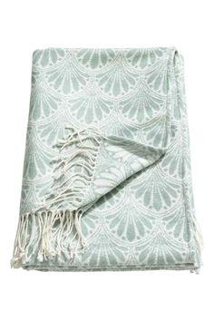 Koc z żakardowej tkaniny - Bladozielony - HOME | H&M PL 1