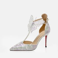 Strappy High Heels, T Strap Heels, Stiletto Pumps, Pointed Toe Pumps, Pumps Heels, Silver Outfits, Silver Wedding Shoes, Christian Louboutin Outlet, Bridal Shoes