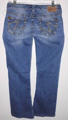 SILVER Distressed Tuesday Low Rise Boot Cut Blue Stretch Denim Jeans 28W Women's #SilverJeans #BootCut
