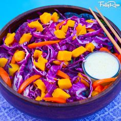FullyRaw Purple Cabbage Mango Salad! Shredded purple cabbage, cubed mangos, and sliced orange bell peppers with an orange juice mango sesame seed dressing! Cost: $6. Run: 8 miles. Bike: 2 miles! Prayer: Grateful for my friends and family (and you!) My favorite part of eating this salad is mushing the mango into the bowl! Smile! Eat! YUM!  https://www.facebook.com/FullyRawKristina