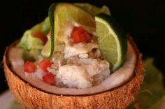 Kokoda raw fish salad in a coconut bowl @ Musket Cove Island Resort