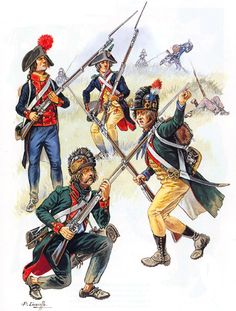 """Volunteers and Irregulars: • National Guard Volunteer, 1791 • Chasseur, Compagnie Franche de l'Égalité, 1793 • Chasseur, Légion Allobroges, 1793 • Chasseur, Légion Germanique, 1793"", Patrice Courcelle"