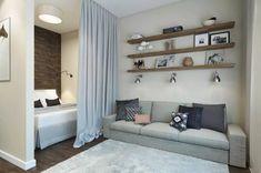 Bedroom Design Apartment Small Curtains 39 Ideas For 2019 Studio Apartment Layout, Small Apartment Interior, Studio Apartment Decorating, Design Apartment, Interior Modern, Home Interior, Interior Design, Small Curtains, Bedroom Curtains