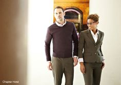 Our design team created a relaxed, almost preppy no-tie look, The suiting we sourced is a very casual fabric for the chino look trousers, sk...
