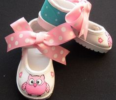 Owl Mary Jane Velcro Hand Painted ShoesTurquoise & by tickledtoes, $40.00
