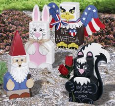 Yard & Garden Patio Paver Pals I Pattern Add a decorative touch to yard and garden areas, patios, porches and entryways with these adorable designs. #diy #woodcraftpatterns